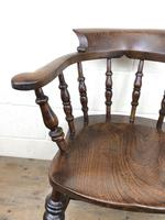 19th Century Ash and Elm Smoker's Bow Chair or Captain's Armchair (3 of 11)