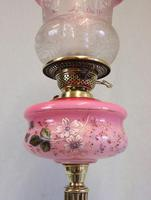 Antique Oil Lamp with Pink Cranberry Shade (7 of 12)