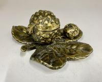 Victorian Brass Leaf & Nut Novelty Inkwell c.1900 (5 of 7)