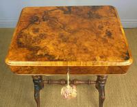 Beautiful Victorian Burr Walnut Sewing Table (6 of 8)
