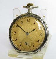 Antique Leonidas Niello Wood Grain Pocket Watch (2 of 5)