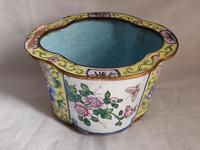 Antique Chinese Canton Enamel Planter / Pot Enamel on Copper Hand Painted (2 of 14)