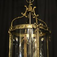 French Convex Gilded Twin Light Antique Lantern (2 of 10)