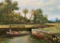 Superb Large Vintage Gilt-Framed Landscape Oil Painting of Barge on the Canal (10 of 13)
