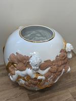 Beautiful Hollywood Regency Style Oversized Porcelain & Terracotta Cherub Floor Vase (4 of 52)