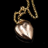 Antique Turquoise Heart 9ct 9K Gold Locket and Chain Necklace (7 of 10)