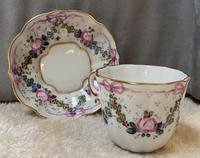 Limoges Hand Painted Cup and Saucer With Swag And Floral Decoration (3 of 4)