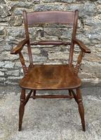 Antique Windsor Bar Back Carver Chair with Elm Seat
