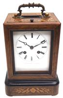 Fine French Officers 8-day Mantel Clock – Rosewood Case With Satinwood Inlay (2 of 13)
