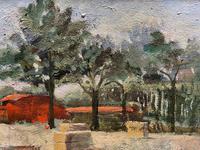 Lovely Original 20th Century Vintage Impressionist Harvest Haystack Landscape Painting (9 of 12)
