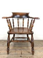 Antique 19th Century Ash & Elm Smokers Bow Chair (11 of 12)