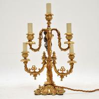 Antique French Gilt Metal Candelabra Table Lamp (3 of 9)