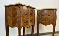 French Marquetry Bedside Tables Cabinets With Marble Tops Louis XVI Bombe Style (5 of 10)