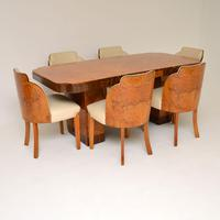 Art Deco Burr Walnut Dining Table & Cloud Back Chairs by Epstein