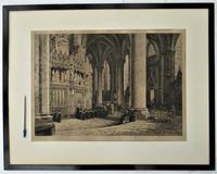 Fine antique print, Axel Herman Haig etching, Chartres Cathedral, signed 1881 (6 of 9)