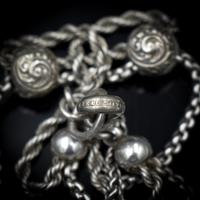 Antique Victorian Sterling Silver Albertina Albert Watch Chain Bracelet with Chased Balls (3 of 9)