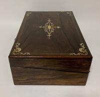 Antique Victorian Rosewood Abalone Mother of Pearl Inlaid Writing Slope Box (12 of 13)