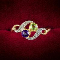 Antique French Suffragette Twist Ring 18ct Gold Amethyst Diamond Peridot Circa 1915 (2 of 7)