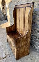 Antique Pine Panelled Box Settle (3 of 16)