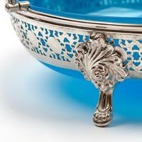 Large Victorian Circular Blue Opeline Glass Lined Silver Plated Basket (4 of 6)
