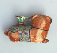 Chinese Canton Famille Rose Porcelain Buddhist Lion Candlestick 19th Century (4 of 9)