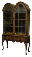 Queen Anne Style Walnut Double-domed Glazed Cabinet