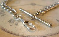 Antique Silver Pocket Watch Chain 1890s Victorian Graduated Curb Link Albert & T Bar (8 of 11)