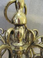 A Dutch Style 6 Light Brass Ball Chandelier (5 of 6)