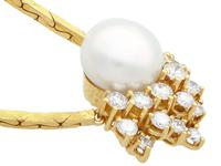 Cultured Pearl & 1.75ct Diamond, 14ct Yellow Gold Necklace - Vintage c.1960 (8 of 9)