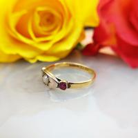 Antique Victorian 22ct 9ct Gold Old Mine Cut Diamond & Ruby Trilogy Ring | Three Stone Ring (9 of 10)