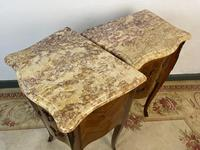 French Marquetry Bedside Tables Cabinets With Marble Tops Louis XVI Bombe Style (9 of 10)