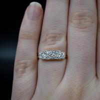Antique Diamond 11 Stone 18ct 18K Yellow Gold & Platinum Ring (7 of 10)