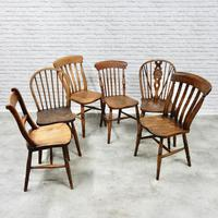 6 Assorted Windsor Kitchen Chairs