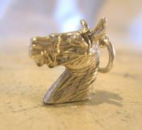 Vintage Pocket Watch Chain Silver Horse Fob 1970 Solid Silver Equestrian Fob (3 of 8)