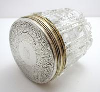 Antique Victorian 1863 Solid Sterling Silver Gilt Lidded Top & Cut Glass Vanity Trinket Dressing Table Box Jar Pot Bottle Container (3 of 8)