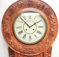 Massive Rare Antique Carved Walnut 8-Day Drop Dial Striking Wall Clock (12 of 14)