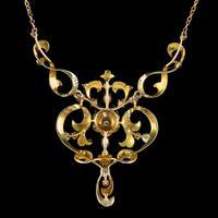 Antique Edwardian Pearl Diamond Green Garnet Lavaliere Necklace 15ct Gold c.1905 (3 of 8)