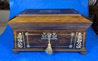 Regency Rosewood Brass Foliate Inlaid Tea Caddy (8 of 15)