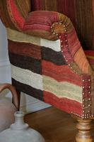 Antique Oak Chair with Multicoloured Afghan Kelim (6 of 9)