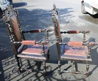 1900's Pair of Continenental Oak Carved Armchairs with Leather Seats (3 of 3)