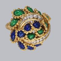 Vintage Diamond and Blue & Green Enamel Ring 18ct Gold Bombé Ring (10 of 21)