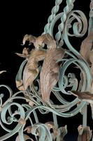 Early 20th Century Polychrome Wrought Iron Chandelier (6 of 6)