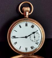 Art Deco Gold Plated Full Hunter Pocket Watch (6 of 11)