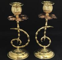 Pair of Arts and Crafts Brass and Copper Benson Style Candlesticks (3 of 7)