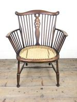 Edwardian Windsor Stick Back Armchair with Cane Seat (14 of 14)