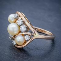 Antique Edwardian Pearl Diamond Cluster Ring 18ct Gold c.1910 (4 of 6)