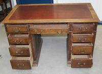 1920s Oak Desk with Red Leather Inset . 1 Piece. (4 of 4)