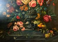 Dutch 18thc Manner RARE Huge Pair Vintage Fruit Floral Still Life Oil Paintings (14 of 23)