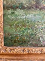 Good Gilt Framed Oil Painting on Canvas of Cattle Grazing on a Riverbank. Signed by the Artist T.E. Francis (2 of 4)