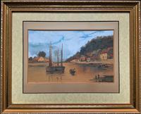 Wonderful Original 19th Century Antique Seascape Landscape Watercolour Painting
